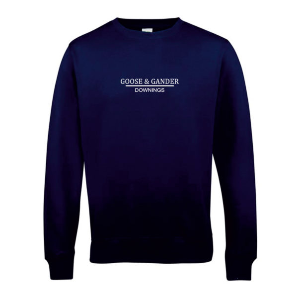 Goose and Gander Sweatshirt French Navy Front-Goose-&-Gander-Downings